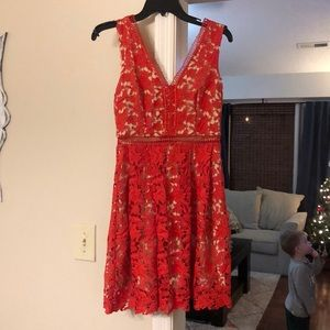 Alya red lace dress